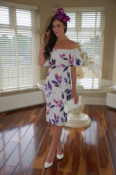 Mia White and Pink Ruffle Floral Off the Shoulder Dress - LadyVB   s.r.o - 1