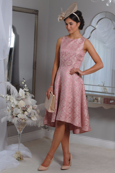 Pippa  Pink Jacquard Swing Dress - LadyVB   s.r.o - 1