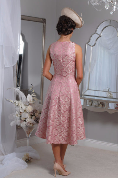 Pippa  Pink Jacquard Swing Dress - LadyVB   s.r.o - 3