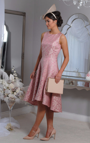 Pippa  Pink Jacquard Swing Dress - LadyVB   s.r.o - 4