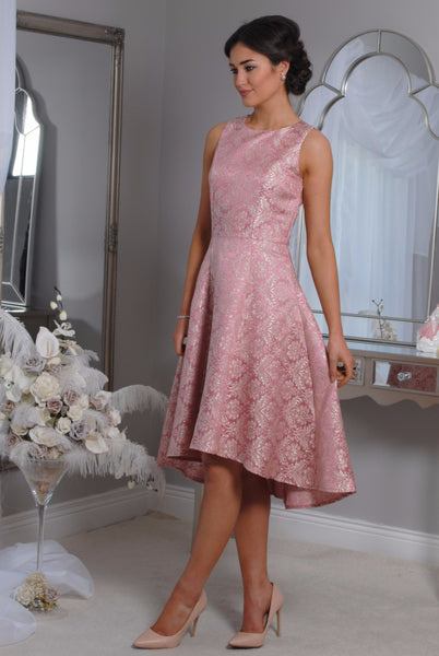 Pippa  Pink Jacquard Swing Dress - LadyVB   s.r.o - 5