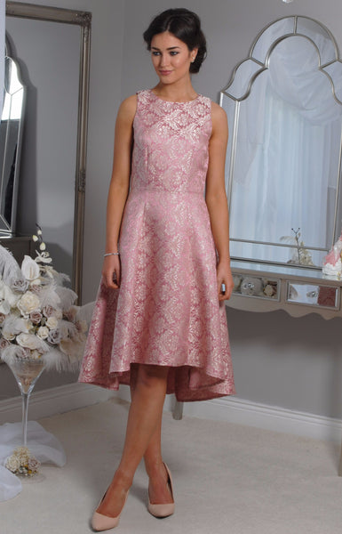 Pippa  Pink Jacquard Swing Dress - LadyVB   s.r.o - 6