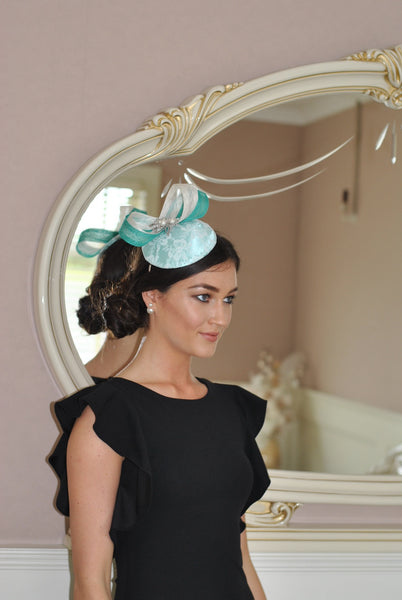 Bespoke mint and cream Sally Fascinator - LadyVB   s.r.o - 4