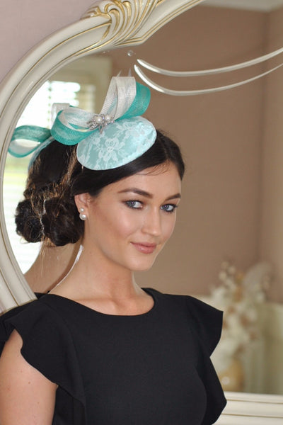 Bespoke mint and cream Sally Fascinator - LadyVB   s.r.o - 1