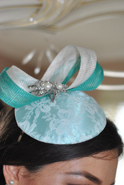 Bespoke mint and cream Sally Fascinator - LadyVB   s.r.o - 5