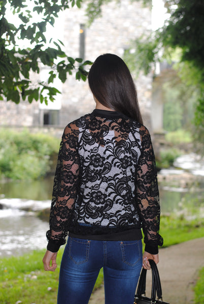 Mellie Black Floral Lace Zip Jacket - LadyVB   s.r.o - 3