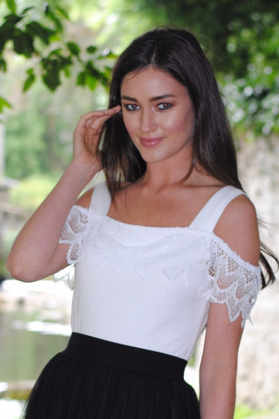 Kacey Cream Off the Shoulder Lace Top - LadyVB   s.r.o - 1