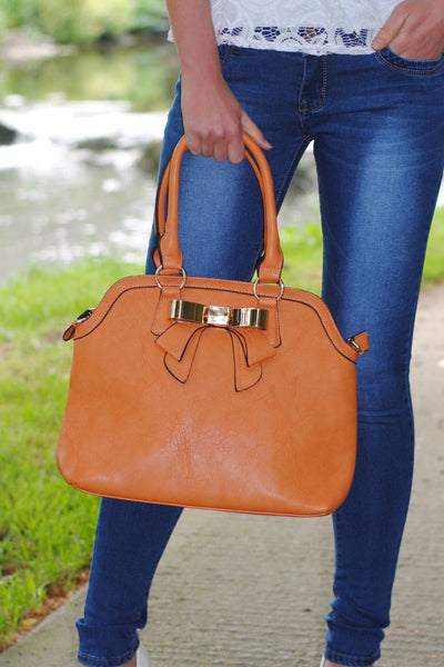 Tan with Front Bow Handbag - LadyVB   s.r.o - 2