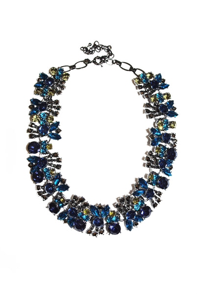 Darla Navy Blue and Green Jewel Necklace - LadyVB   s.r.o - 1