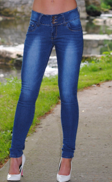 Sally 3 Button Mid Rise Skinny Jeans - LadyVB   s.r.o - 1