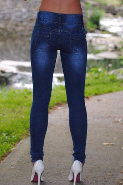 Sally 3 Button Mid Rise Skinny Jeans - LadyVB   s.r.o - 2