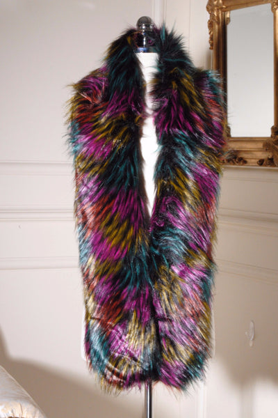 Multi Colour Long Faux Fur stole - LadyVB   s.r.o