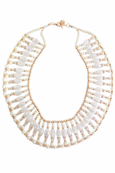 Cleo Beige and Gold Circular Bead Necklace - LadyVB   s.r.o