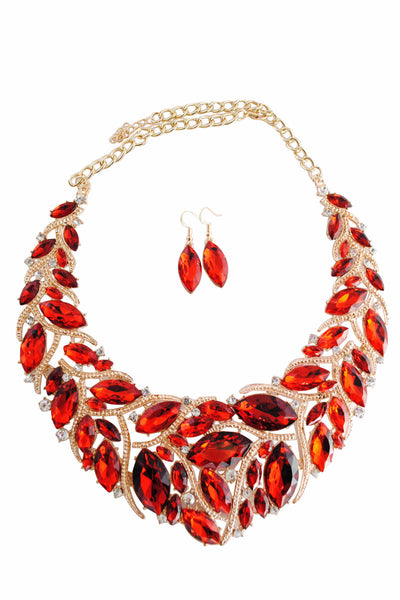 Libby Red and Gold Gem Motif Necklace with Red Gem Drop Earrings - LadyVB   s.r.o