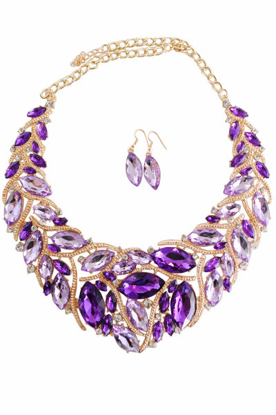 Libby Purple and Gold Gem Motif Necklace with Purple Gem Drop Earrings - LadyVB   s.r.o