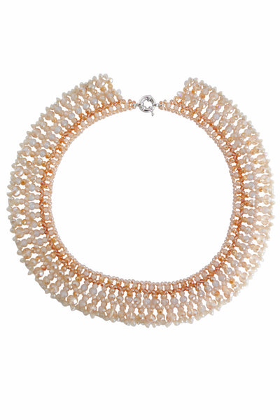 Farrah Gold and Beige Circular Bead Necklace - LadyVB   s.r.o