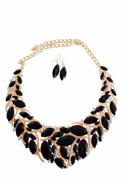 Libby Black and Gold Gem Motif Necklace with Black Gem Drop Earrings - LadyVB   s.r.o