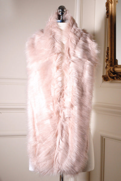 Jo Powder Pink Long Fur Collar - LadyVB   s.r.o