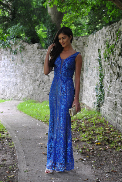 Caleigh Royal Blue Embellished Maxi Dress with Mesh Insert - LadyVB   s.r.o - 3