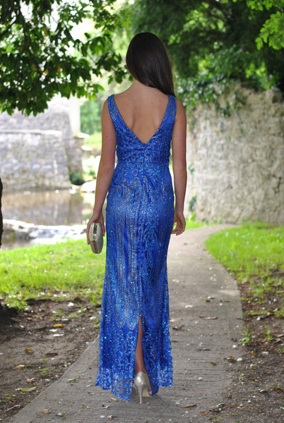 Caleigh Royal Blue Embellished Maxi Dress with Mesh Insert - LadyVB   s.r.o - 2