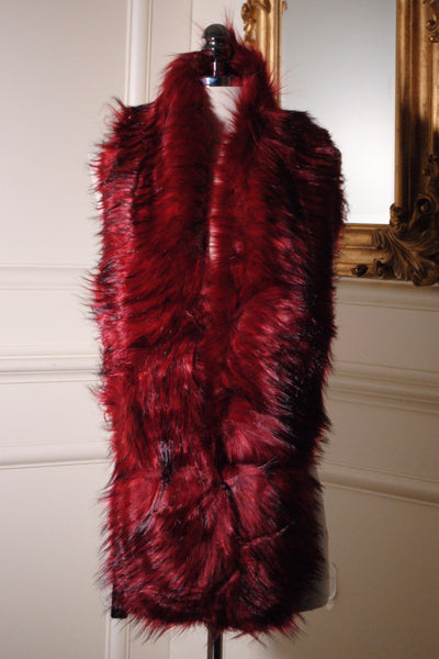 Nora Wine Red and Black Long Fur stole - LadyVB   s.r.o - 2