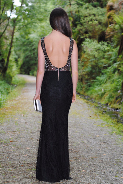 Black and White kris Embellished Maxi Dress - LadyVB   s.r.o - 2