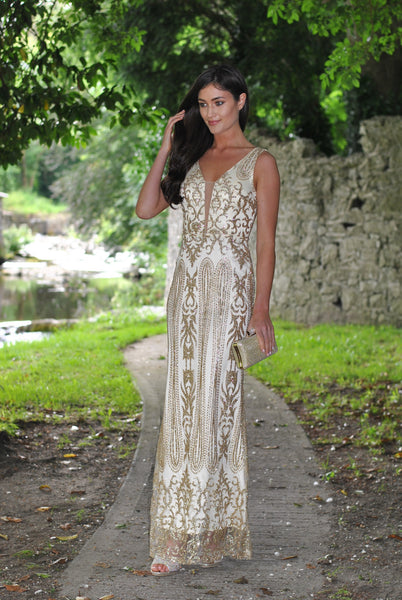 Caleigh Gold Embellished Maxi Dress with Mesh Insert - LadyVB   s.r.o - 2
