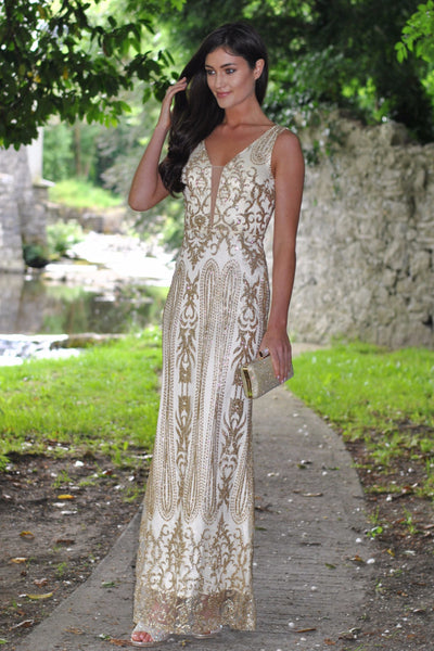 Caleigh Gold Embellished Maxi Dress with Mesh Insert - LadyVB   s.r.o - 1
