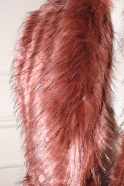 Nora Powder Pink and Black Long Fur stole - LadyVB   s.r.o - 2