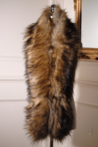 Nora Camel and Black Long Fur Collar - LadyVB   s.r.o - 2