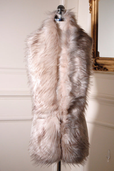 Nora Beige and Brown Long Fur stole - LadyVB   s.r.o