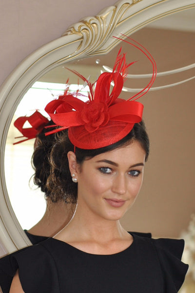 Sue Red Fascinator - LadyVB   s.r.o - 1