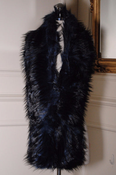 Nora Navy and Black Long Fur stole - LadyVB   s.r.o - 2