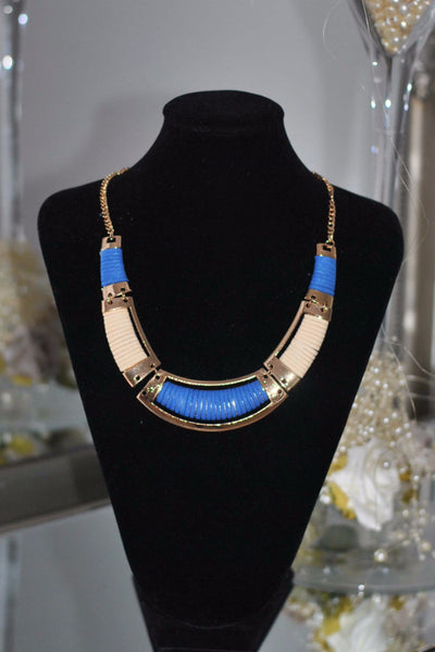 Blue and Gold necklace Sally - LadyVB   s.r.o - 1