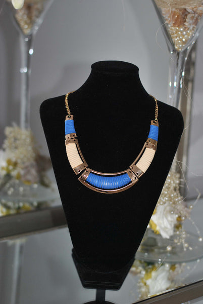 Blue and Gold necklace Sally - LadyVB   s.r.o - 3