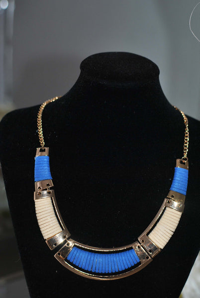 Blue and Gold necklace Sally - LadyVB   s.r.o - 4