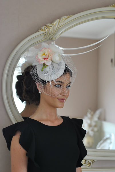 Pale Floral Fascinator with diamonds and flowers Clp - LadyVB   s.r.o - 2