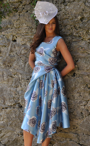 Grace Blue Full Skirt Dress - LadyVB   s.r.o - 1