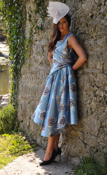 Grace Blue Full Skirt Dress - LadyVB   s.r.o - 3
