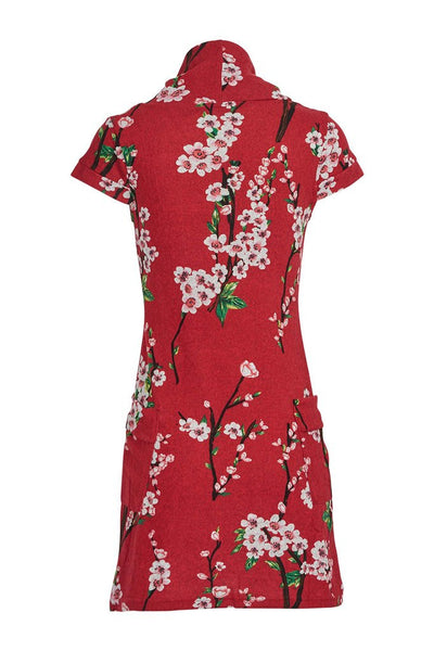 Eily Floral Print Roll Neck Knit Dress in Red - LadyVB   s.r.o - 3