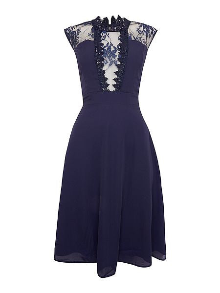 Ellie Navy Sleeveless High Neck Lace Skater Dress - LadyVB   s.r.o - 2