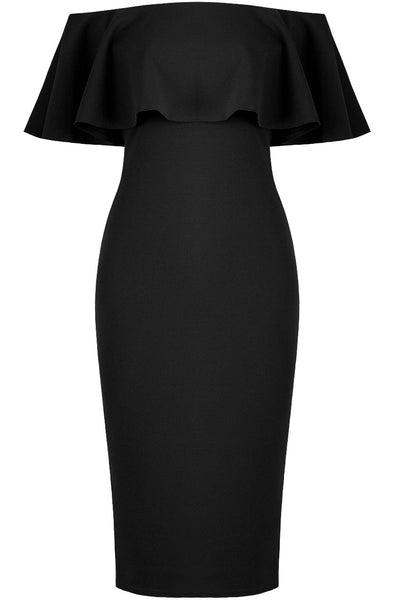 Black Stretch Ruffle Dress - LadyVB   s.r.o - 3