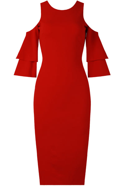 Lana Cold Shoulder Red Dress - LadyVB   s.r.o - 2
