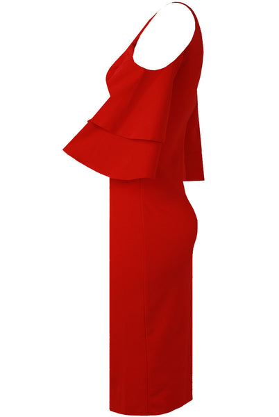 Lana Cold Shoulder Red Dress - LadyVB   s.r.o - 3