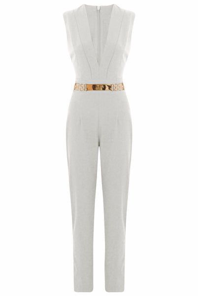 Cream Gold Trim Double Breast Jumpsuit - LadyVB   s.r.o - 4
