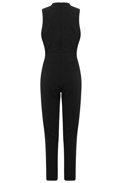Black Gold Trim Double Breast Jumpsuit - LadyVB   s.r.o - 7