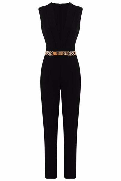 Black Gold Trim Double Breast Jumpsuit - LadyVB   s.r.o - 4