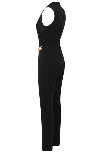 Black Gold Trim Double Breast Jumpsuit - LadyVB   s.r.o - 6