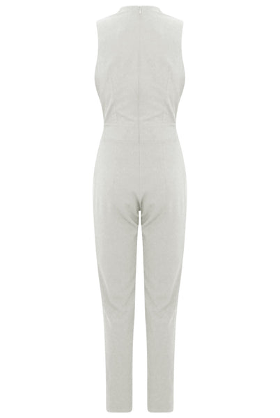 Cream Gold Trim Double Breast Jumpsuit - LadyVB   s.r.o - 7
