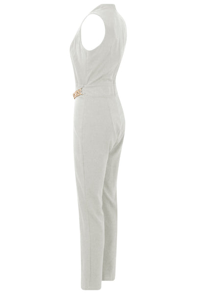 Cream Gold Trim Double Breast Jumpsuit - LadyVB   s.r.o - 6